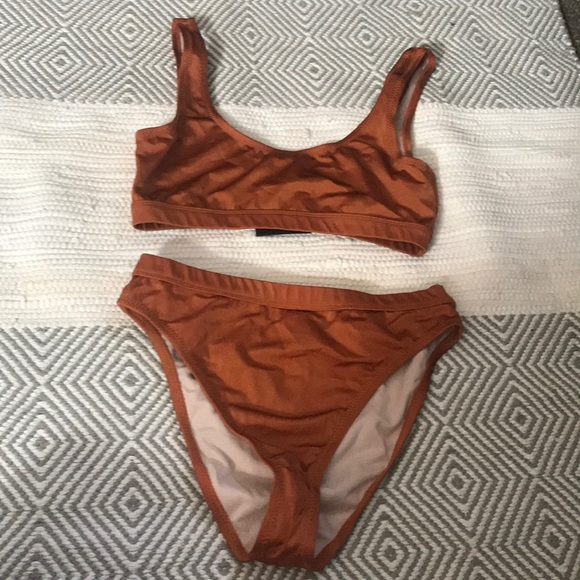 3b32893a5bce4 bikini high waisted L pumpkin color little sparkle